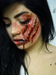 This is the type of scar/scratch I might be looking for - fantasy makeup inspiration Zombie Makeup, Scary Makeup, Fx Makeup, Wound Makeup, Prom Makeup, Looks Halloween, Costume Halloween, Halloween Face Makeup, Scary Halloween