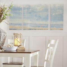 Beachcrest Home Shoreline View Textured 3 Piece Painting Print on Canvas Set & Reviews | Wayfair