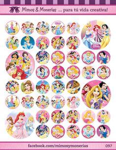 "Disney Princess Bottle Cap Images - 8.5"" x 11"" Digital Collage Sheet - 1"" Circles for Hair Bows"