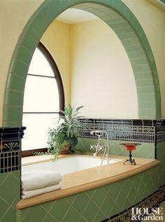 Dream Home Design, My Dream Home, Art Deco Bathroom, Bathroom Ideas, Small Bathroom, Spa Bathrooms, Bathroom Yellow, Bathroom Pics, Marble Bathrooms