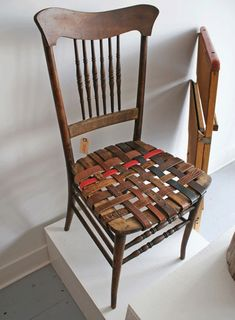 The Haymaker Shop via AT. Chicago carpenter and designer Blake Sloane created this unique chair using a pile of old leather belts