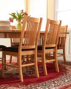 Our classic, high-quality American Mission Dining Chairs are versatile enough to fit into any dining room decor. Made of solid natural wood, they are extremely comfortable, durable & sturdy. #MissionStyleFurniture