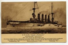 GERMANY-1914-POSTCARD-OF-SMS-GNEISENAU-BATTLE-OF-FALKLANDS-EAST-ASIA-SQUADRON
