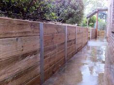 H beam timber sleeper retaining wall
