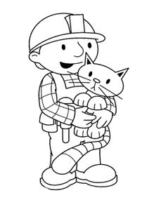 bob the builder and cat coloring page for kids