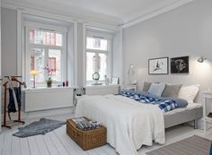 Bedroom:Fetching Scandinavian Interior Design Bedroom Furniture Ideas With Bedstead And Pillows Plus White Blanket Feat Table Lamps And Wall Lamps Also Windows Then Mat And Gray Fur Rugs With Wooden Floor Scandinavian Interior Design Bedroom Ideas Bright Bedroom Colors, Bedroom Color Schemes, White Interior Design, Scandinavian Interior Design, Scandinavian Design, Bedroom Furniture, Bedroom Decor, Bedroom Ideas, Furniture Ideas