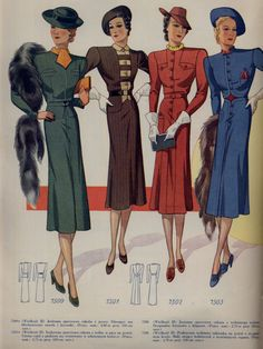 Daytime dress was more closely fitted than the silhouette with a long hem that hit around the mid calf. It was also worn with accessories such as hats and gloves. 1938 Fashion, Look Fashion, Fashion Art, Vintage Fashion, Cheap Fashion, Fashion Tips, Vintage Outfits, Vintage Dresses, 1930s Dress