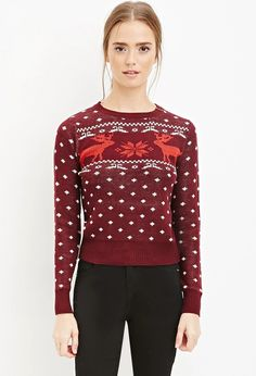Reindeer-Patterned Sweater | Forever 21 #foreverfamily