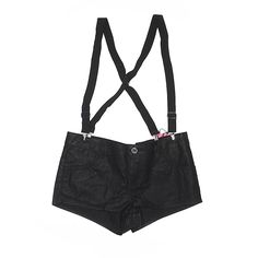 Abbey Dawn Overall Shorts ($14) ❤ liked on Polyvore featuring black, short overalls and abbey dawn