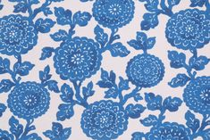 Premier Prints Mums Printed Polyester Outdoor Fabric in Cobalt. This printed indoor/outdoor fabric is perfect for any project where the fabric will be exposed to the weather. Uses include cushions, tablecloths...