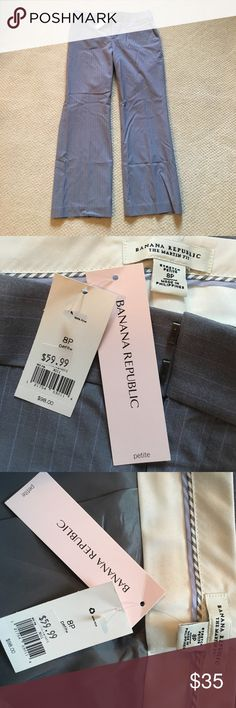 Banana Republic 8P Martin Fit dress pants NWT Banana Republic Womens Dress Pants Size 8 Petite. These are Gray Purple Striped Martin Fit Lined dress pants. NWT. Bought for my mom on sale bit did not fit her. Love this color combo. Banana Republic Pants Trousers