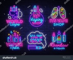 Vape neon sign set, conceptual emblems design template on theme electronic cigarettes, light banner, night bright advertising, trendy modern design. Shop Logo, Vaping, Neon Design, Modern Design, Light Design, Icon Collection, Vape Shop, Neon Lighting, Shop Signs