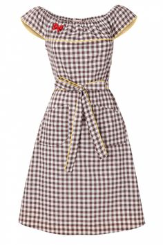 House of Dots - Pecan Pie Georgia Gingham Dress-- sooo adorable. Gingham Shirt, Gingham Dress, Vintage Outfits, Vintage Dresses, Vintage Tops, Bettie Page Clothing, Retro Fashion, Vintage Fashion, Western Dresses For Women