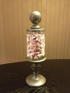 fancy candy jar made from pickle jar, candle holder & finale