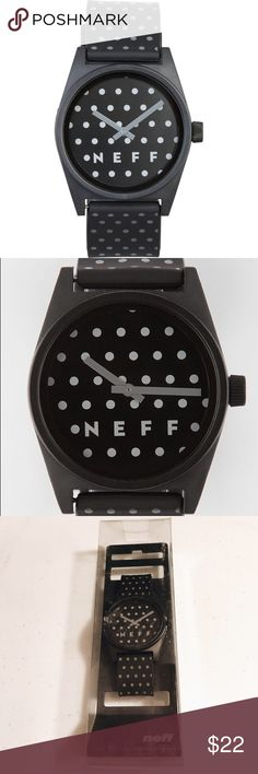 NWT NEFF WATCH POLKA BLACK UNISEX. Neff watch polka black. Unisex. Neff Daily watch. Clean bold look, grey hands, and a smooth polyurethane strap. 4cm diameter case. Case made from protective ABS material. Polka dot printed polyurethane adjustable strap. One size fits all. Neff logo on display, buckle and crown. ABS stainless steel reinforced back. 5 ATM water resistant. Neff Accessories Watches