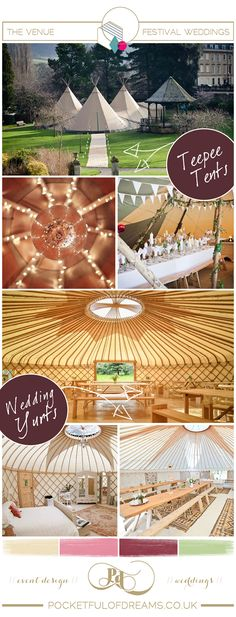 Festival Wedding Bridal Inspiration Board by www.pocketfulofdreams.co.uk....I really like the tipees!  We have awesome grounds to display the tipees!!!