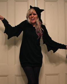 turn a mens black hoodie into a bat dress