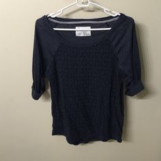 Barley worn Aeropostale navy shirt size large Barely worn, size large. Navy with lace in the front. Aeropostale Tops Tees - Long Sleeve