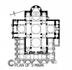 LATE BYZANTINE ARCHITECTURE - Plan of Basilica San Marco, Venice, Italy, 1071. It's believed that the current S. Marko has adopted its original Greek cross plan. The central dome of S. Marko covers the intersection of four subspace, each with its own dome. The scheme design is a version of a Byzantine quincunx, similar to that of the Church of the Holy Apostles from 546 in Constantinople which no longer survived.