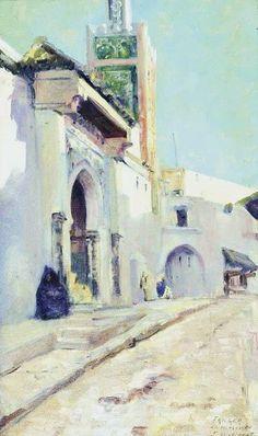 Mosque inn Tangier by the Belgian artist Ferdinand Willaert (1861-1938)