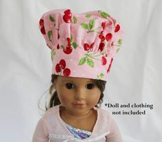 This is a doll-sized version of my other chef hats! Your child can use it to play with their dolls, to cook with their dolls, or to play dress up with a matching doll apron. They can also use it with a child size apron and chef hat of their own (available in another listing).    This doll size chef hat will fit the American Girl doll and other dolls of the same size. The hat band measures approximately 13 around. If you are interested in a hat for a different size doll, just contact me with…