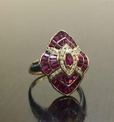 Create Your Own Wedding Ring Vintage Wedding Jewelry, Vintage Style Rings, Custom Wedding Rings, Wedding Ring Designs, Ruby Diamond Rings, Art Deco Diamond, Diamond Wedding Rings, Ruby Rings, Ruby Jewelry