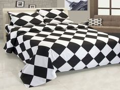 18'' 5 Pc Egyp. Cotton White & Black Diamond Style Duvet Cover Set Full Size.