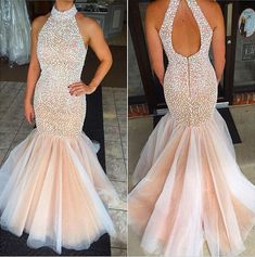 Halter High Neck Mermaid Prom Dress Beaded Bodice 2018 Prom Gown APD1655 #promdresses #promgown #mermaid #beaded #halter #unique
