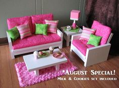 """18"""" Doll Furniture - American Girl sized Living Room - Loveseat / Chair / Coffee Table / End Table / Lamp / Rug - MILK and COOKIES INCLUDED"""