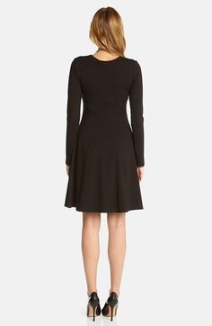 Karen Kane Black Seam Detail Jersey Fit & Flare Dress | Nordstrom #Karen_Kane #Black #Seam #Detail #Jersey #Fit_and_Flare #Dress #Nordstrom