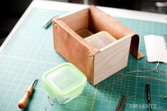 Leather and wood lunch box.