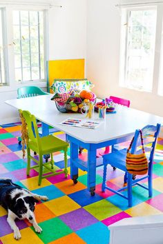 eclectic dining room by Rikki Snyder/what a happy room! Love the floor tiles/from houzz.com
