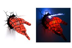 What your kiddo loves how spider man shoots his web from his hand. What he hates is the dark. This battery operated wall light makes for the perfect night light for his bedroom, and spidey's 3D hand seemingly punching through the wall is sure to delight!