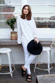 Black birkenstocks, black hat, all white everything else. // Carmen Hamilton