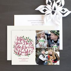 Hand Lettered Wreath Holiday Cards