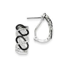 14k White Gold Black & White Diamond Oval Omega Back Earrings Attributes Polished;14K White gold;Omega back;Post;Diamond;Round;AA quality;Black diamond Product Type:Jewelry Jewelry Type:Earrings Earri