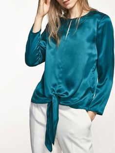 #AdoreWe #JustFashionNow Shirts & Blouses - Designer yinbo Bow It Blue Long Sleeve Chiffon Blouse - AdoreWe.com