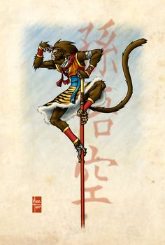This is an upgrade of the Monkey King art I posted long time ago. Japanese Monkey, Japanese Art, Character Inspiration, Character Art, Character Design, Anubis, King Design, King Tattoos, Journey To The West
