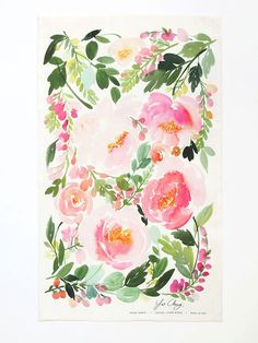 Peony Dance Watercolor Tea Towel
