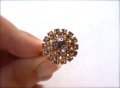 Purple Rhinestone Cocktail Ring Adjustable by RinVinJewelry, $18.00