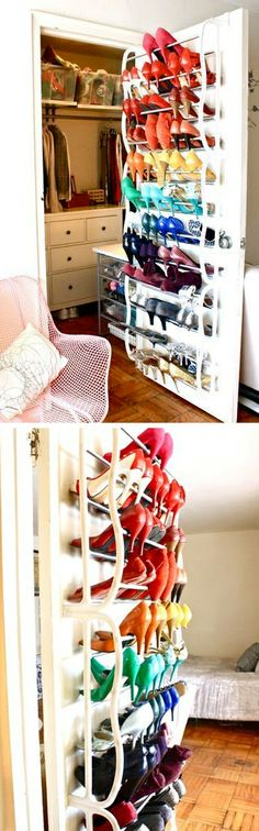 Over the door shoe storage // oh my goodness! #organization