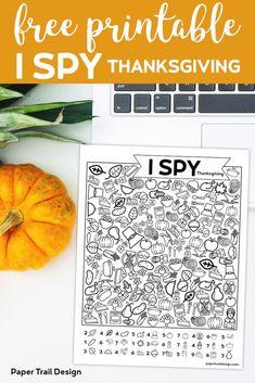 Free Printable I Spy Thanksgiving Activity   Paper Trail Design