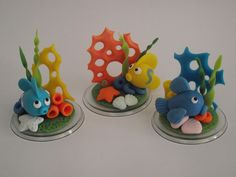 Children to make Fimo Fish? Polymer Clay Figures, Polymer Clay Animals, Fimo Clay, Polymer Clay Projects, Polymer Clay Creations, Polymer Clay Art, Diy Air Dry Clay, Clay Fish, Sea Cakes