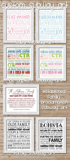 Tons of personalized Subway Art... baby showers, wedding/bridal showers, Family Proclamation, Family Tree & LDS Baptism