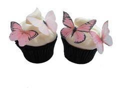 EDIBLE BUTTERFLIES CUPCAKE Toppers - 24 Light Pink Edible Butterflies - Blush Pink Cake Decorations