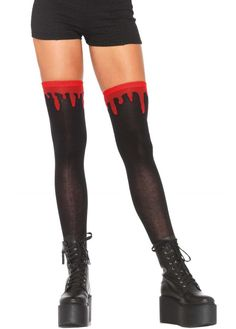 The Dripping Blood Knee Socks are a pair of knee highs in a super creepy design! These black socks have bright red blood slowly trickling down and are perfect to finish off a gory gothic outfit!