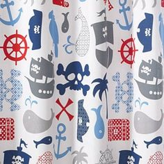 Bambini Pirates Shower Curtain - replace closet door with a curtain to free up space in tiny room