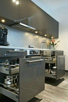 The top-notch Kitchen, white kitchen , contemporary kitchen , kitchen design creativity! Kitchen Room Design, Kitchen Cabinet Design, Modern Kitchen Design, Home Decor Kitchen, Kitchen Layout, Interior Design Kitchen, Kitchen Ideas, Kitchen Hacks, Kitchen Furniture