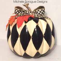 Custom Made Hand Painted Pumpkin//Autumn Decoration//Autumn Centerpiece//Harlequi