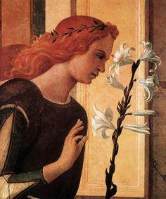 BELLINI, Giovanni Italian painter, Venetian school (b. ca. 1426, Venezia, d. 1516, Venezia)  Angel Announcing (detail) c. 1500 Oil on canvas Gallerie dell'Accademia, Venice